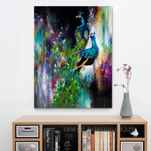 X Series Beautiful Colors Peacocks Oil Painting On Canvas For Wall Decoration Handmade Peacock Portrait Artwork