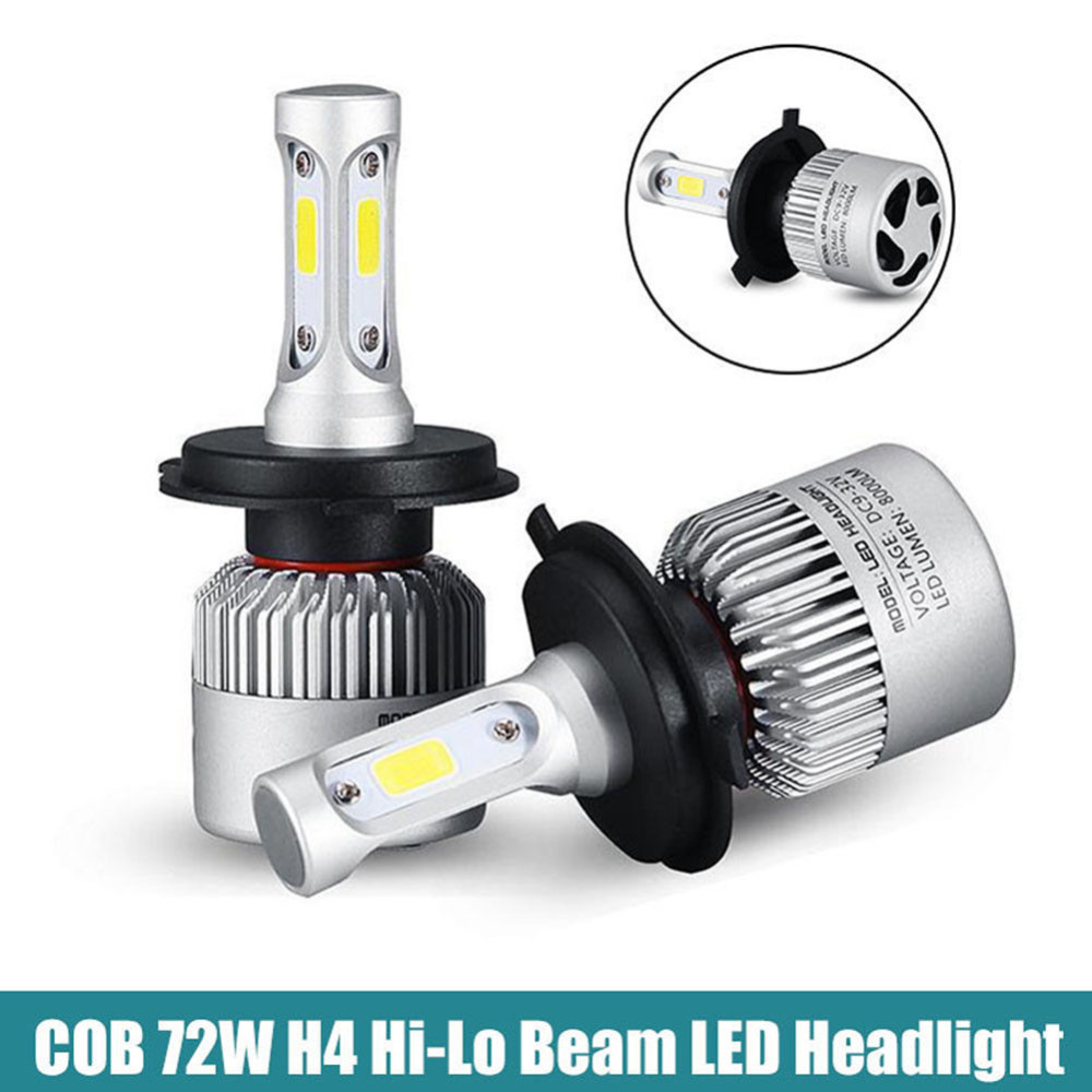 2PCS Car H4 9003 HB2 LED Lamp Headlight Hi/Lo Bulb Conversion Kit White