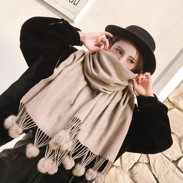 New Luxury Brand Winter   Scarves   Thick Warm Blanket Fashion Women's   Scarf     Wrap   Cashmere   Scarf   Shawl Pashmina With Fur Balls