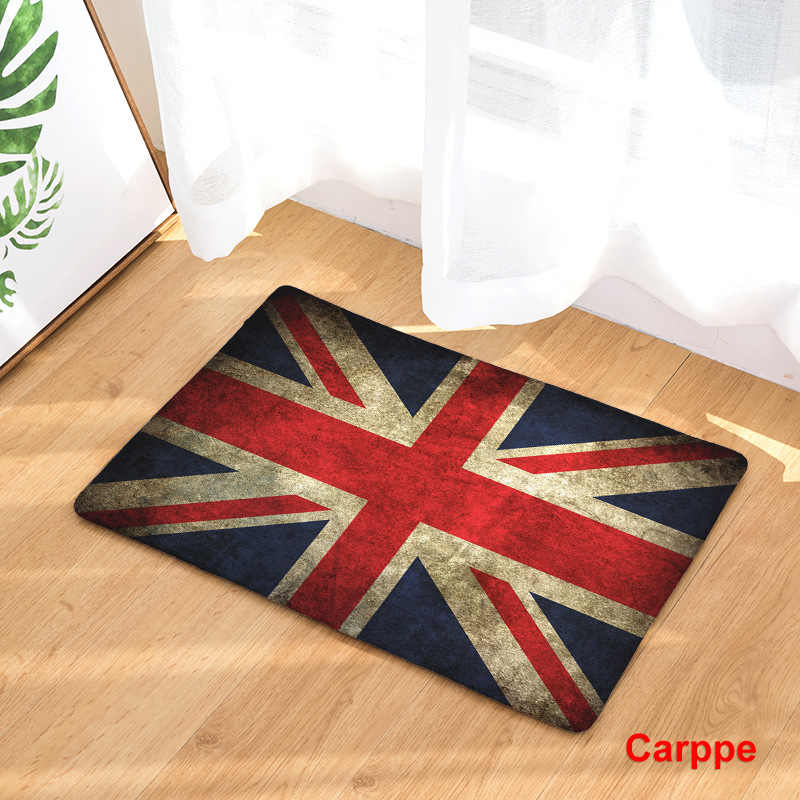 CAMMITEVER United States England Brazil Flag Non-slip Mat Foyer Foot Carpet Rug Household Kitchen Door Pad Fashion Rugs