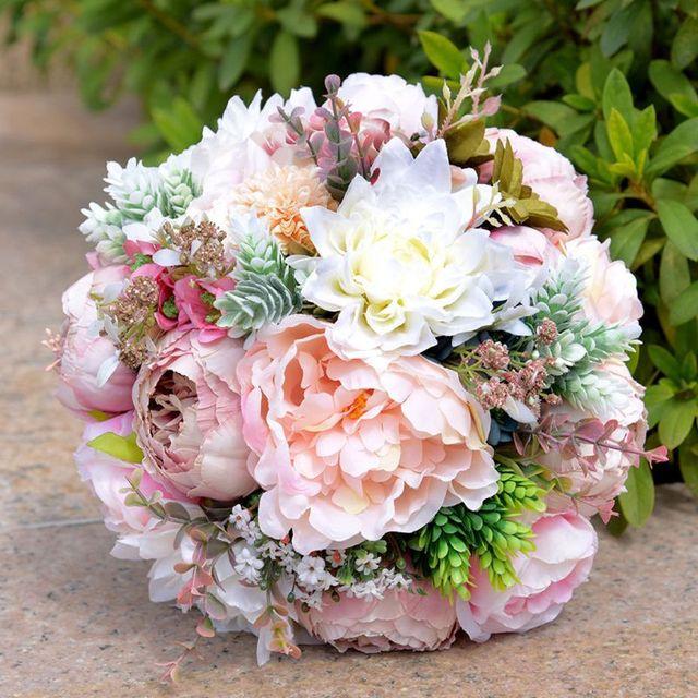 European Style Artificial Peony Rose Bride Bridesmaid Holding Wedding Bouquet Colorful Satin Ribbon Bowknot Wedding Decor Wedding Bouquets