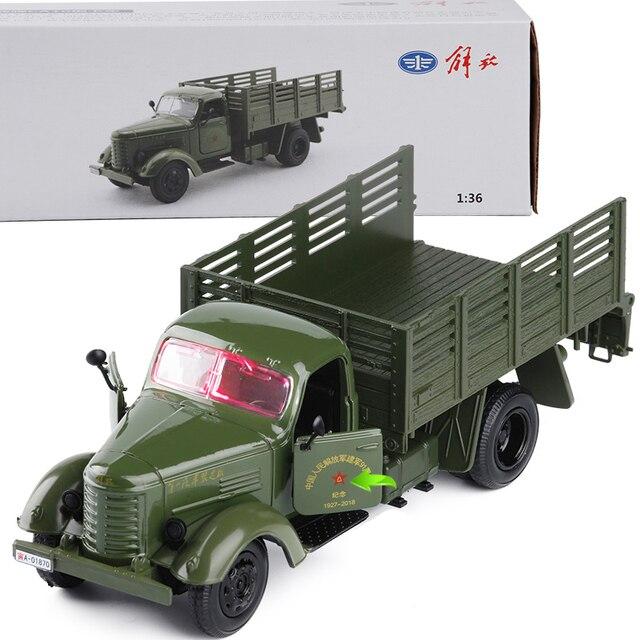 1:36 Jiefang Militer Diecast Model Truk dengan Lampu Suara dan Mobil Tentara Truk Hijau Milfoil Model Anak Mainan Gratis Pengiriman