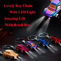 EMEC Metal Zinc Alloy Key Ring Little Car Pendant Key Chain porta chaves Auto Chaveiro For BMW VW Ford With LED Light llaveros