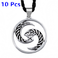 Wholesale 10 Pcs Mens Womens Silver Crescent Moon Pentacle Pentagram Wicca Pagan Pewter Pendant Necklace Jewelry WLP319