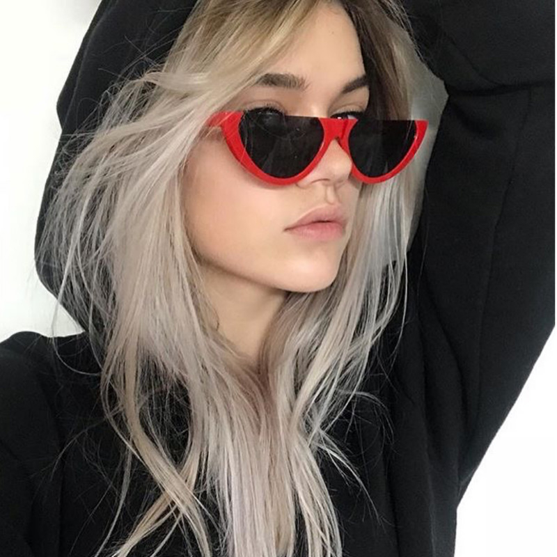KPAY 2019 Fashion Sun Glasses Female Colorful UV400 Cool Semi Rimless Narrow Frame Lady Cat Eye Sunglasses Women Personality in Women 39 s Sunglasses from Apparel Accessories