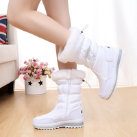 Women Snow Boots Waterproof Non Slip Women Winter Shoes 2017 New Style Zipper Mid Calf Women