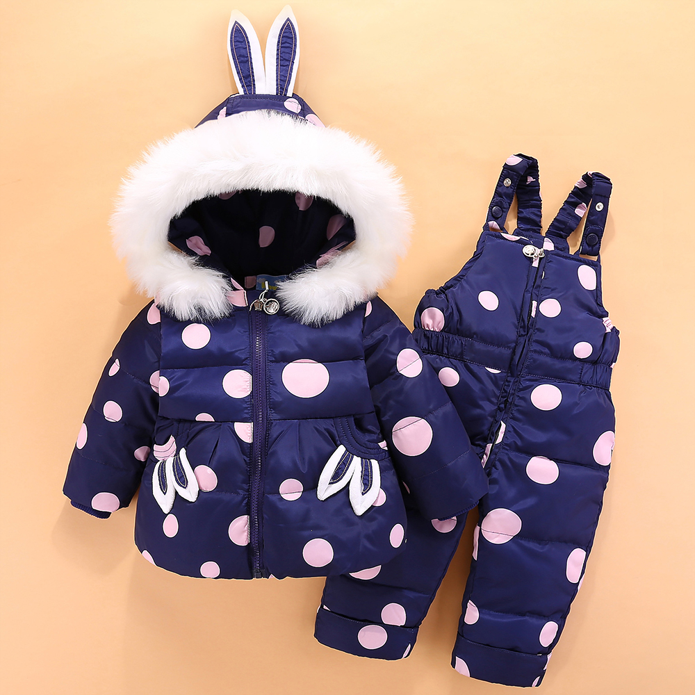 2018 New Baby Winter Down Jacket for Girl Clothes Romper Suits Baby Girl 2-4Y Coat Parka Fur Kids Outfit Children Clothing Sets retail 2015 winter new cute baby girl clothes black swan romper tutu dress kids cartoon clothes sets newborn outfit suits 4pcs