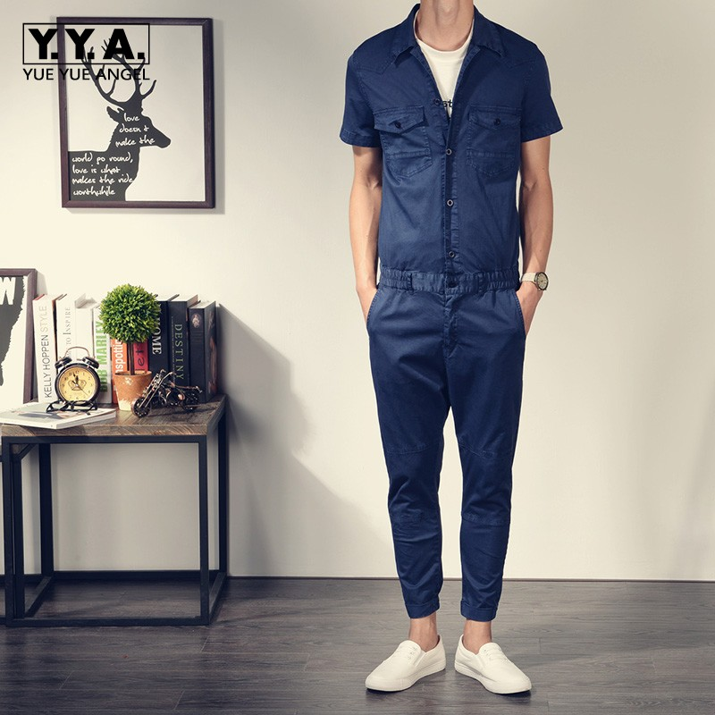 Top Brand Classic Retro Short Sleeve Mens Jumpsuits Slim Fit Cargo Romper One Piece Overalls Cotton Elastic Waist Pants Trousers