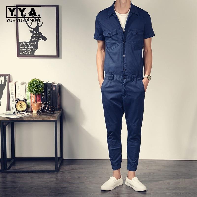 Top Brand Classic Retro Short Sleeve Mens Jumpsuits Slim Fit Cargo Romper One Piece Overalls Cotton Elastic Waist Pants Trousers