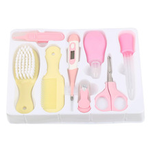 8PCS/Set Convenient Daily Baby Care Nail Clipper/Scissors/Hair Brush /Thermometer /Comb/Nose Cleaner Baby Care Daily Kit