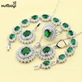 XUTAAYI Top Quality Sterling Silver Jewelry Sets For women Green Imitated Emerald Classy Wedding Necklace/Rings/Earring/Bracelet