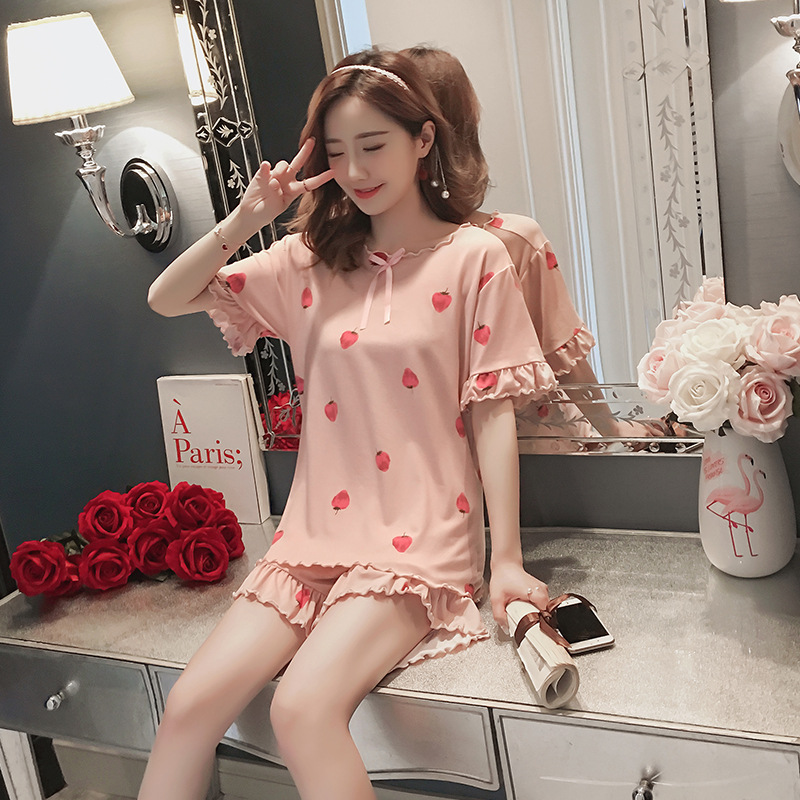 New Arrival Spring And Summer Women's Pajama Set 2 Piece Home Clothes Sleep Set Short Pants Set Female Pajamas Cotton Home Suit