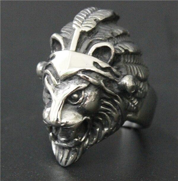 Anillo de león indio para motorista, joyería de acero inoxidable, 316L, tamaño 7 ~ 13