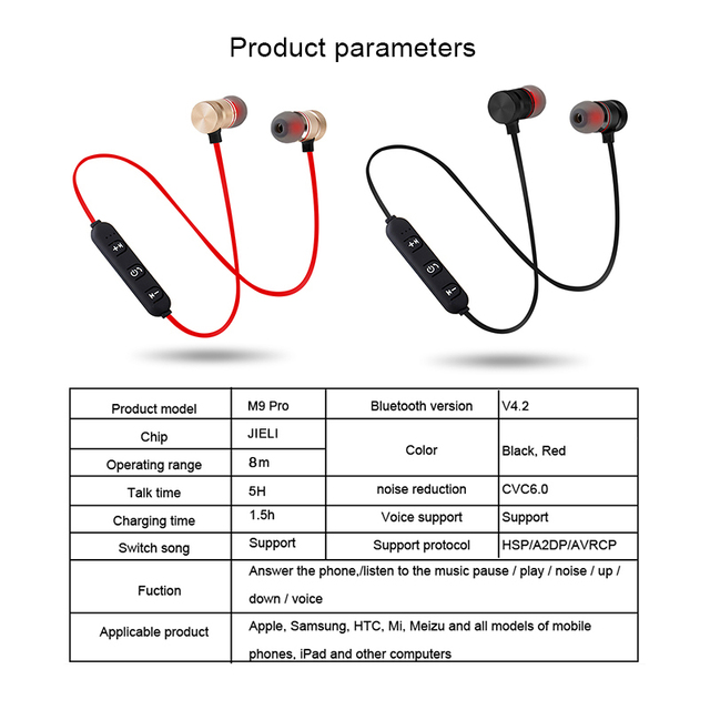 Earphone M9 Pro Sport Wireless Bluetooth Earphones Metal Magnetic Running Stereo Super Bass Headphone  Noise Reduce With Mic