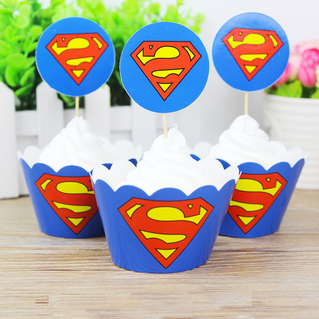 24pcs Superhero Kids Party Favors Decorations For Superman Birthday Baby  Shower Party Stuff Supplies Cupcake Decorating