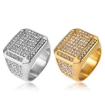 cf5a93097dc1 HIP Hop US 7 a 12 tamaño Bling Iced Out cuadrado con zircon anillo oro  plata Color DE ACERO INOXIDABLE boda anillos para hombres joyería