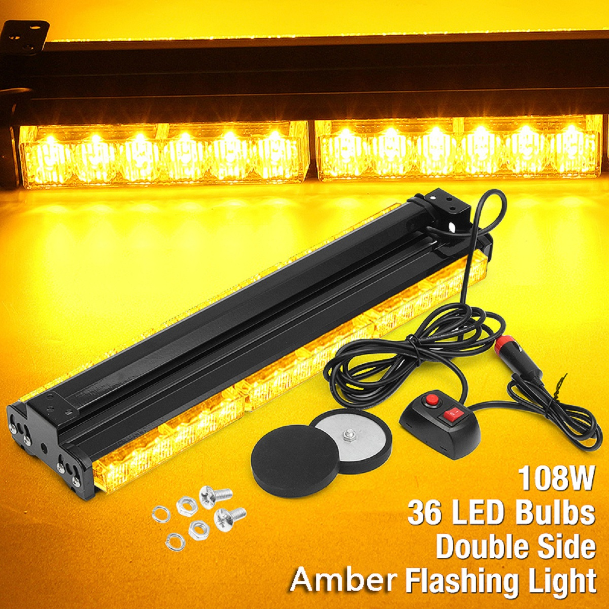цена на 12V 108W 36LED Car Truck Flash Light Strobe Emergency Warning Caution Roof Lamp Auto Polices LED Bar Car Yellow Light Assembly