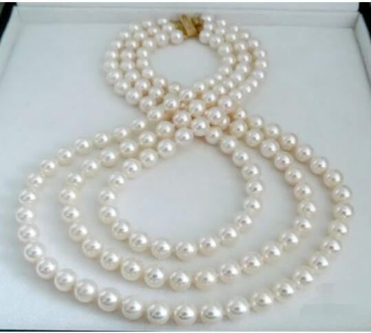 цена на 9-10 mm AAA natural south white pearl necklace 17-19