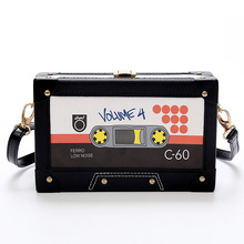 Personality  tape cassettes evening clutch bag women hard box clutch high end hand bag small party purse shoulder bag