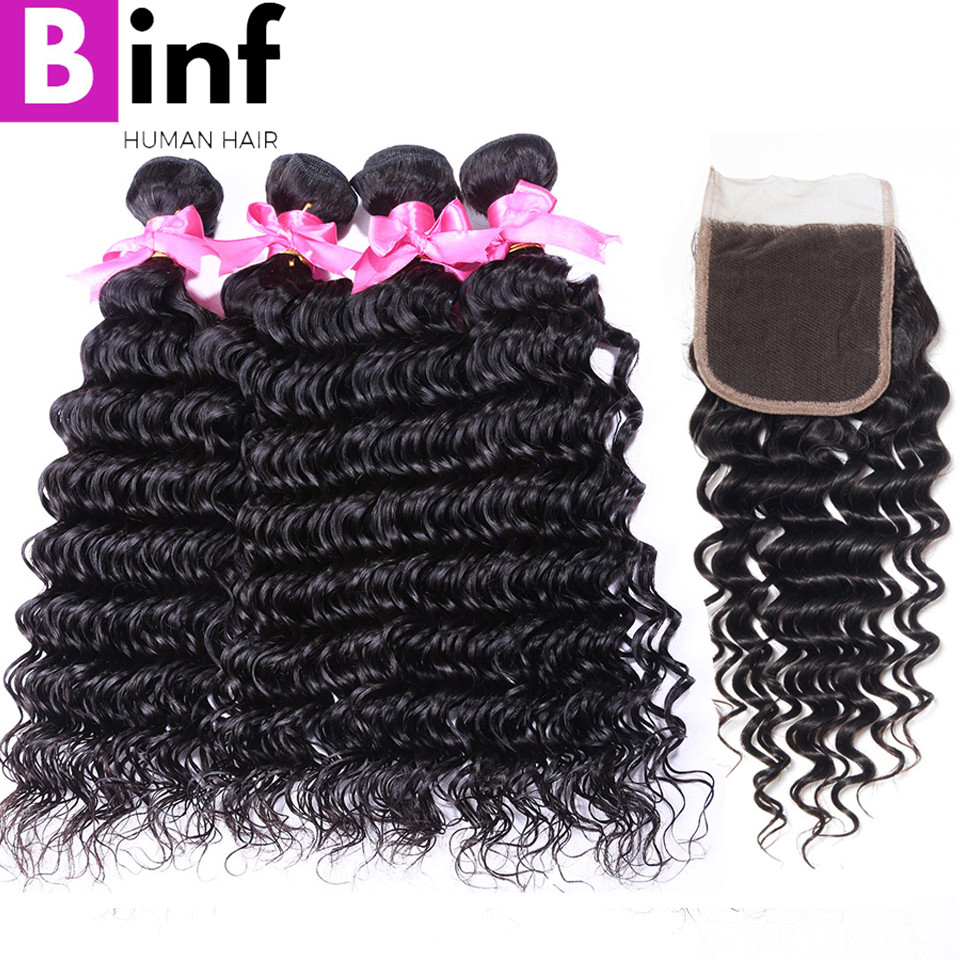 BINF Hair Remy Hair 4PCS Indian Deep Wave Bundles With Closure 100 Human Hair Weave Extensions