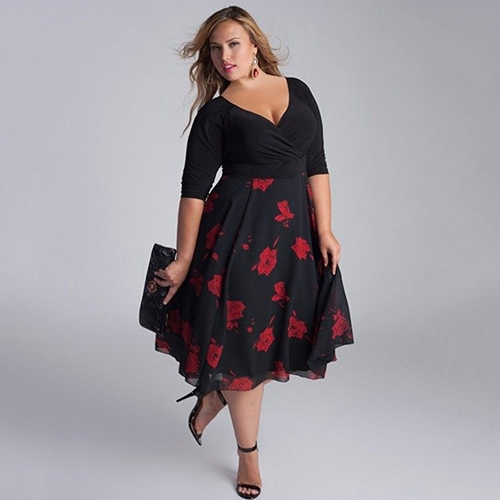 Сексуальные женщины леди плюс размер v-образным вырезом лоскутное линии цветочный принт партии платье 09wg