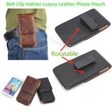 Универсальный для чехол для телефона ремешках кобура Роскошные кожаный чехол для телефона сумка 4,7 до 6,3 дюймов поворотный зажим ремня телефона