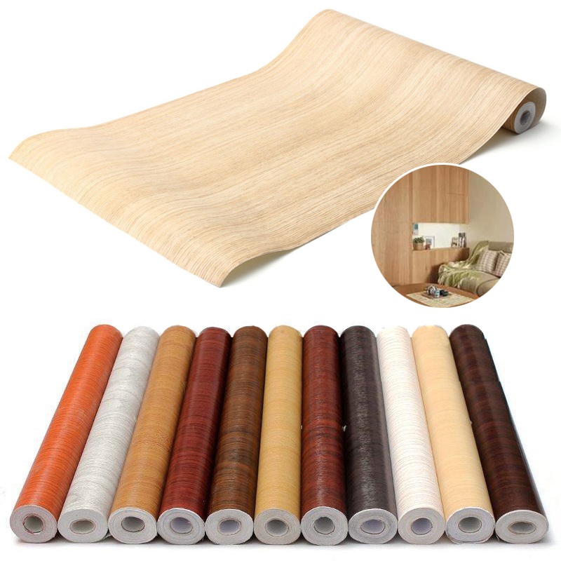 Mayitr Wood Grain Furniture Renovation Sticker Diy Decorative Film Self Adhesive Wall Paper