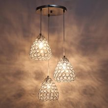 Modern Crystal Pendant Light Fixtures Dining Room Kitchen Loft Rope Hanging Lamp Decor Home Lighting Chrome Iron E27 AC 110-220V цена