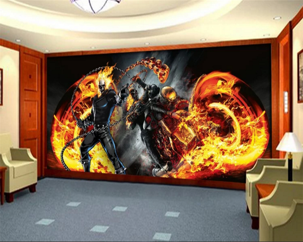 Beibehang Custom Photo Wall Mural 3d Wallpaper Luxury: Beibehang Custom Wallpaper Mural Flame Motorcycle