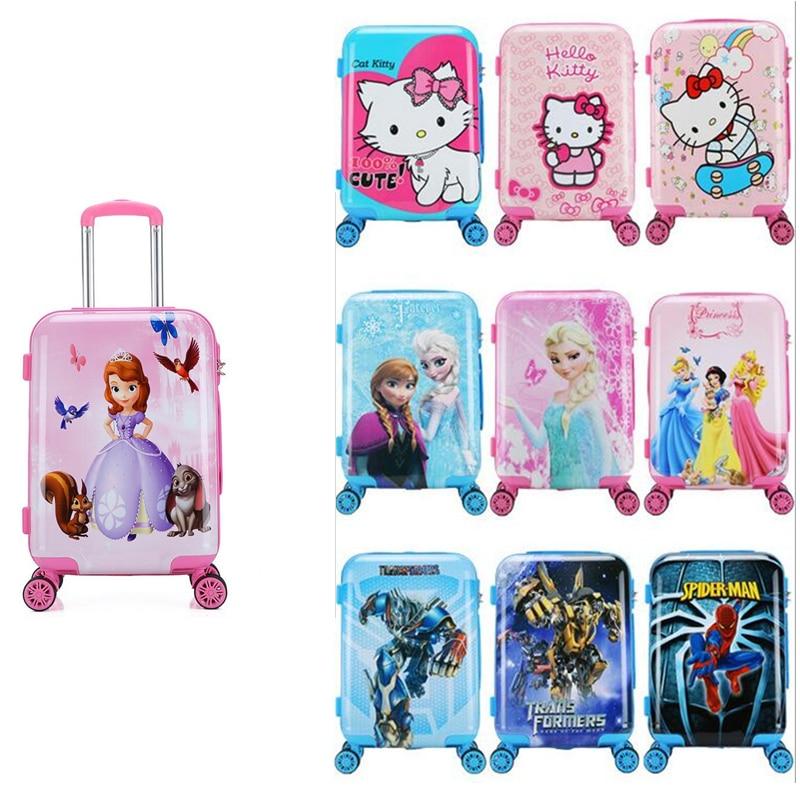 ใหม่ 20 นิ้วการ์ตูนเด็กกระเป๋าเดินทางเด็กกระเป๋าเดินทางเด็กสาวเจ้าหญิง Abs กรณีรถเข็น Boarding กล่องพกพา Rol-ใน กระเป๋าเดินทางแบบลาก จาก สัมภาระและกระเป๋า บน   1