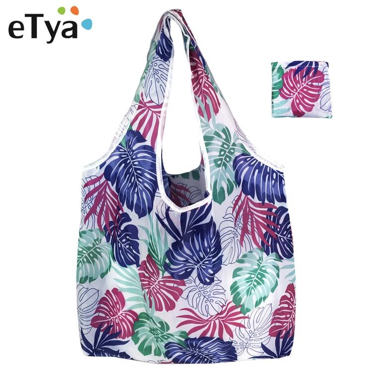 ETya Fashion Women Foldable Shopping Bag Shopper Tote Large Eco Reusable Shopping Bags Portable Shoulder Handbag Folding Pouch