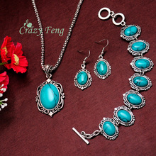 Retro Silver Plated Costume Jewelry Sets Blue Turquoise Necklace Earrings Bracelets 3PCS Jewelry Set For Women