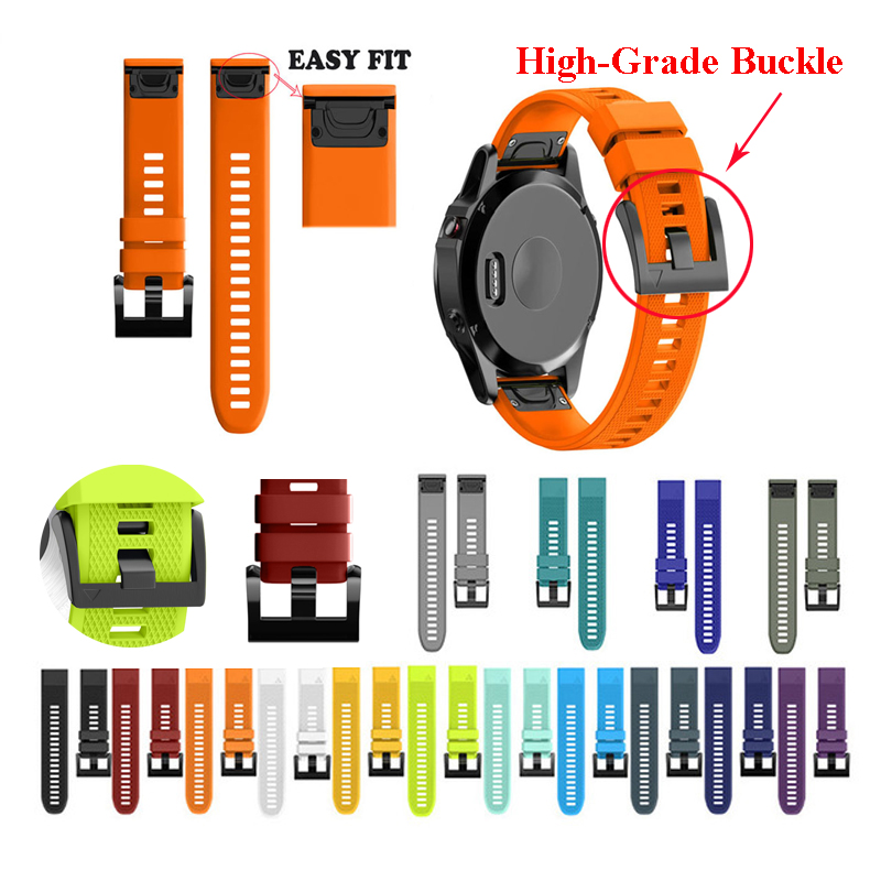 JKER 26 22 20MM Watchband Strap For Garmin Fenix 5X 6X 6 5 5S Plus 3 3HR Watch Quick Release Silicone Easyfit Wrist Band Strap