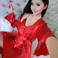 2017 New Spring Autumn Silk Robe Set Nightgown Women Summer Sexy Lingerie Two Piece Sleepwear Comfortable Red Night Dress Pijama