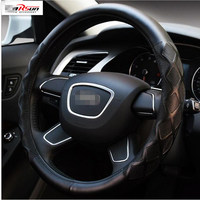 CARSUN Genuine Leather Cowhide Car Steering Wheel Cover 38cm Diameter Universal Size For Audi/Benz/BMW/Vw/Toyota/Cruzez