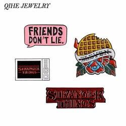 QIHE JEWELRY Stranger Things Enamel Pins Waffle TV Logo Dialog Pins Badges Brooches for fans men women