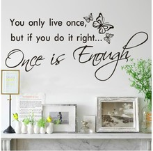 you only live once adesivo de parede butterfly wall sticker vinyl decal home room decor quote
