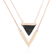 TOMTOSH Women Gold Color Punk Necklaces From India Hot Geometric Triangle Faux Marble Stone Pendant Necklace Vintage Jewelry