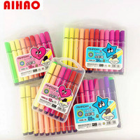 Aihao Promotional New Arrival 12pcs Coloful Pens Washable Korean Stationery For School Kids Prize High Quality