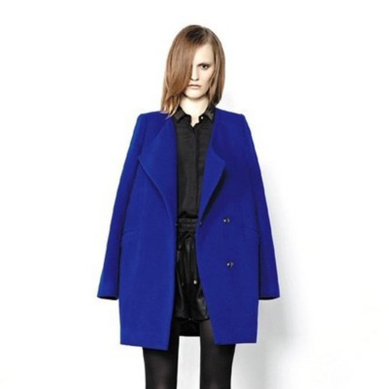 new2017 Europe and the contracted retro hidden-interlocking big long sleeve lapel cultivate ones morality Blue cloth coat c278
