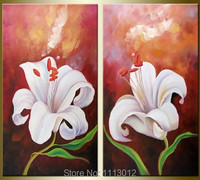 Handmade Modern Red White Lily Oil Painting Blossom Flower Picture Purple Home Wall Designs Art 2 Piece Set Home Decoration Sale