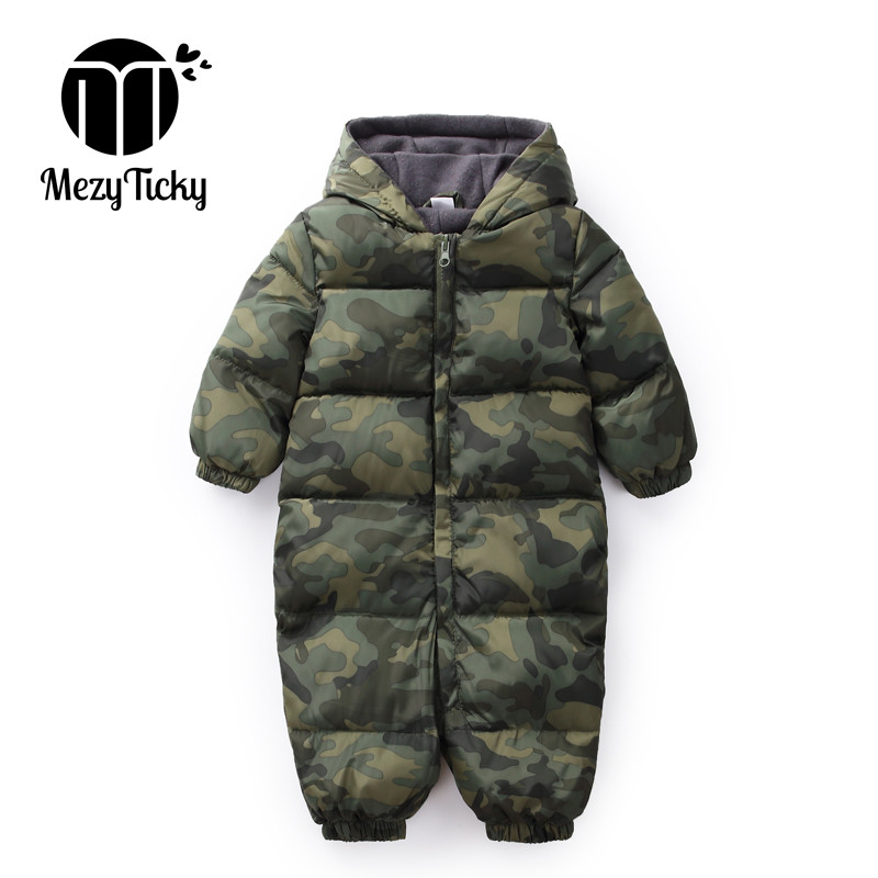 Winter Baby Boys Camouflage Jumpsuit Baby Keep Warm Romper Infants Hooded Flannel Thicker Clothes Toddler Girls Cotton Clothing