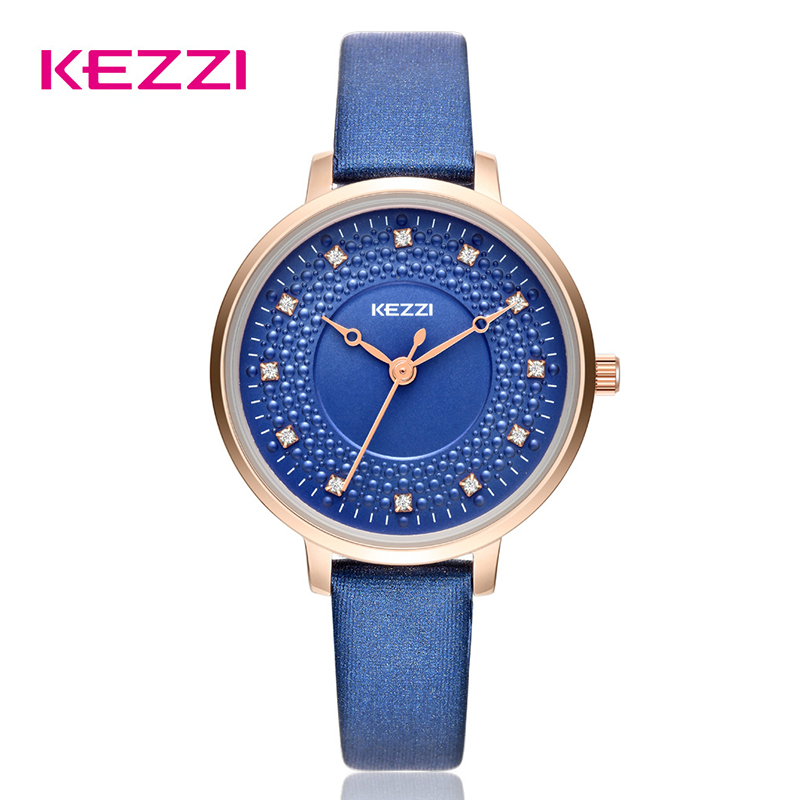 Kezzi Women Quartz watches Fashion Luxury Life Waterproof Leather Strap Wristwatch Ladies Rhinestone Dress Watch montre femme free shipping 1pcs high quality kezzi top brand leather strap watches women dress watch waterproof ladies quartz watch kw1021