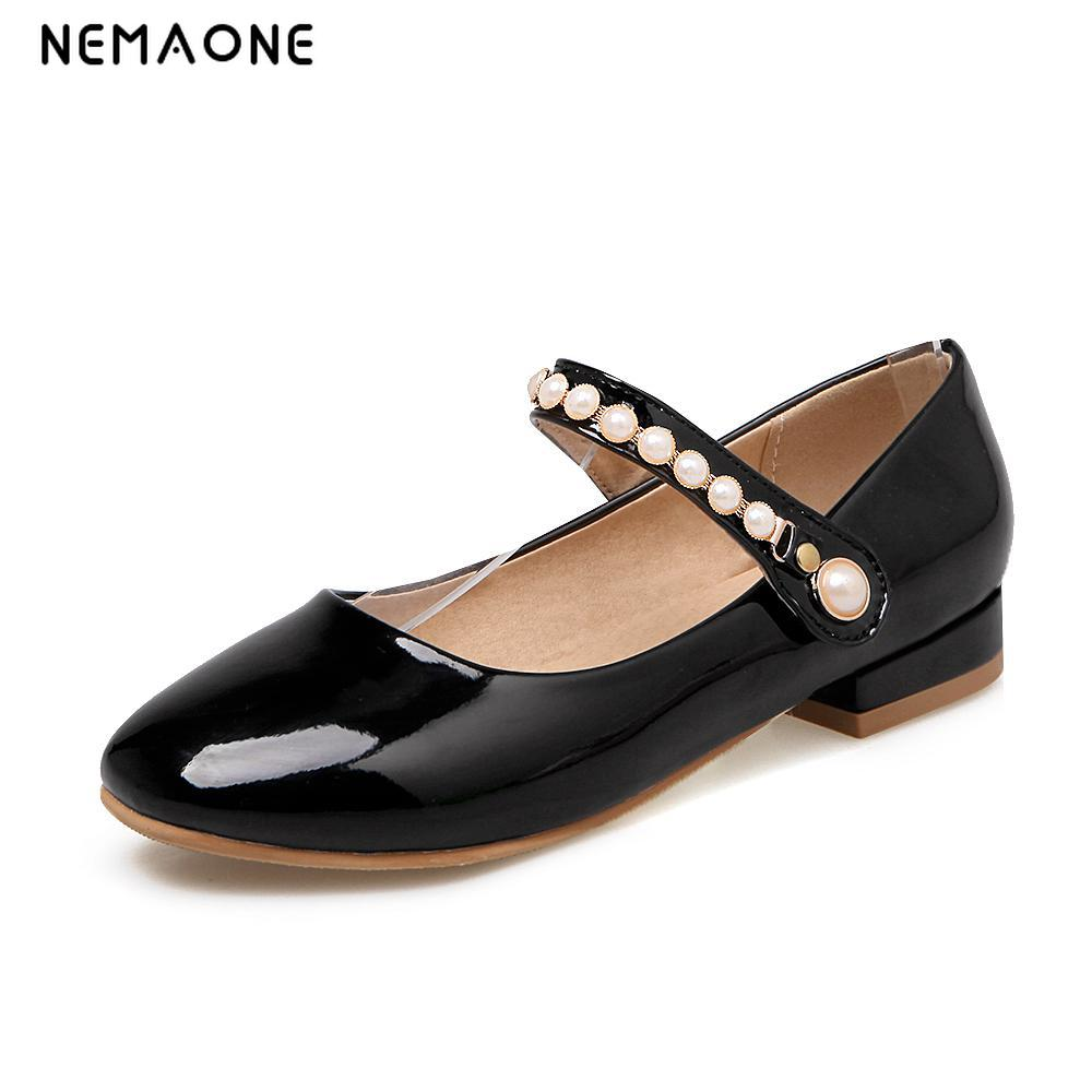 цены NEMAONE Comfortable PU Round toe Slip-On Women shoes Low heels Big size 34-43 Spring Summer Black Red White pink girls shoes