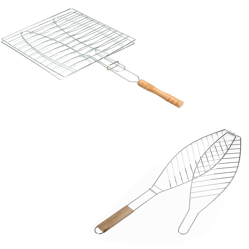 Other Bbq Tools Garden Supplies Symbol Of The Brand Barbecue Mesh Camping Grill Rack Bbq Clip Folder Grill Single Meat Fish Vegetable Wooden Handle Folding Basket Fry Bbq Tool