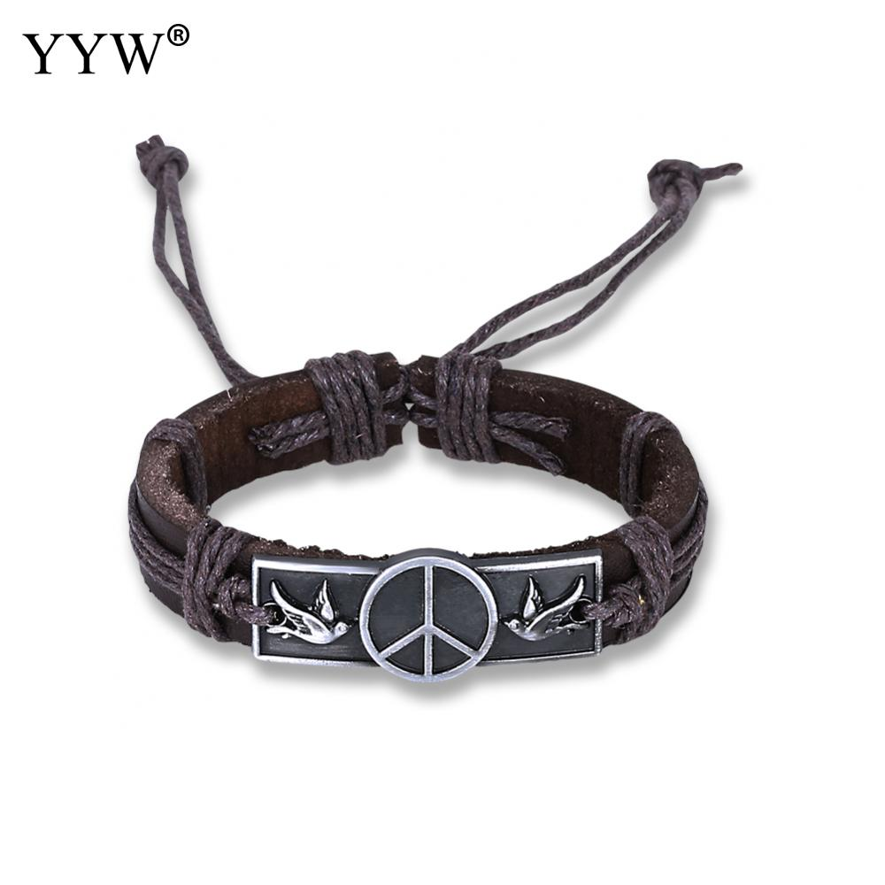New Fashion Wristband Male Wheel Bracelets & Bangles with cowhide real leather vintage Braided Gothic Punk Style