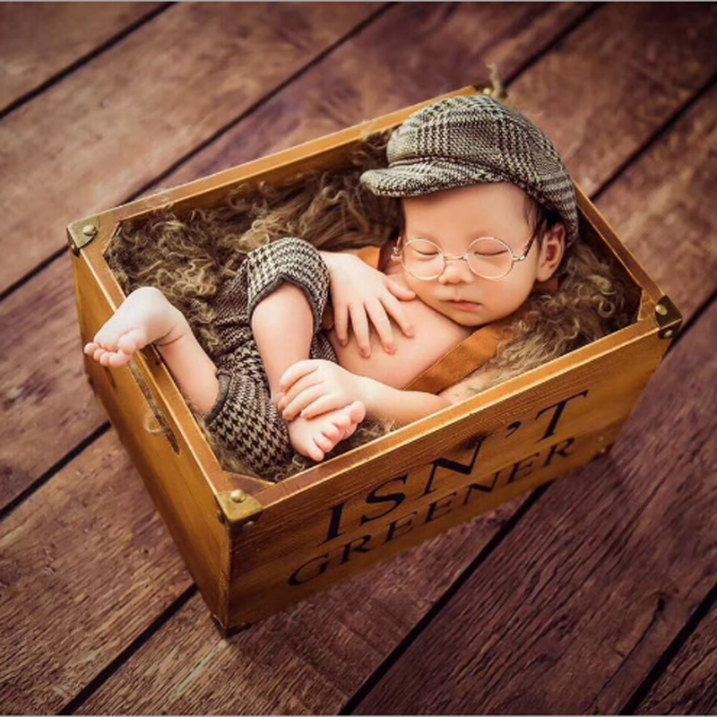 2018 Infant Baby Boy Cap Newborn Photography Props Little Gentleman Outfit Newborn Plaid Costume Hats Baby Photoshoot Accessorie цены