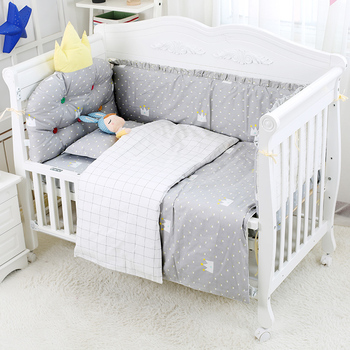 Cute 6pcs/set Baby Bed Set Breathable Cotton Baby Crib Bumper Bedding Set Newborn Bed Linen Sheet Quilt Cover Kids Room Decor