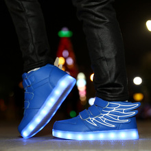 2019 LED Shoes Running led angels wings kids with lights up luminous shoes girls boys