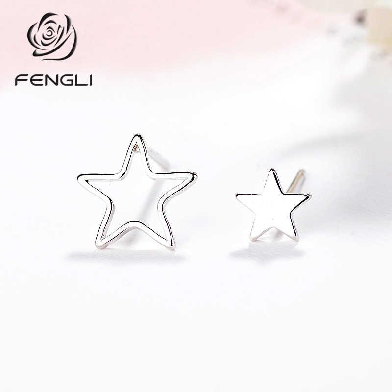 FENGLI 非対称かわいいミニ小型女性のファッションガールズシルバー耳ギフトジュエリー防止アレルギー注文